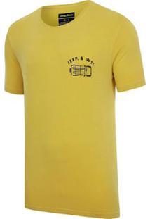 Camiseta Especial Jeep E Wsl Wrangler Trip Lavada Amarela Masculina - Masculino