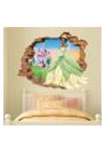 Adesivo De Parede Buraco Falso 3D Princesa Tiana 02 - P 45X55Cm