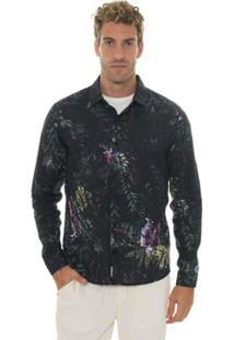 Camisa Timberland Ml Printed Masculina - Masculino-Preto