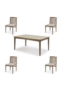 Conjunto Mesa Jantar Mule Tampo Verniz Avela 180Cm + 4 Cadeiras Brisa Encosto Estofado - 60512 Preto