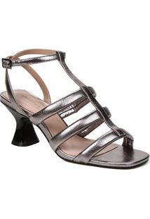 Sandália Couro Shoestock Salto Médio Tiras Feminina - Feminino-Prata+Preto