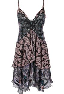 Etro Mixed-Print Layered Slip Dress - Preto