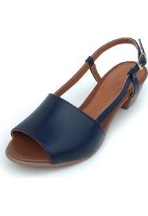 Sandália De Salto Em Couro Amora Calçados Mimi Azul Marinho