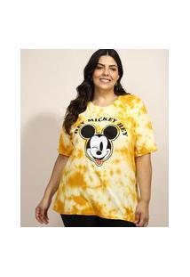 Blusa Feminina Plus Size Mickey Estampada Tie Dye Manga Curta Decote Redondo Mostarda