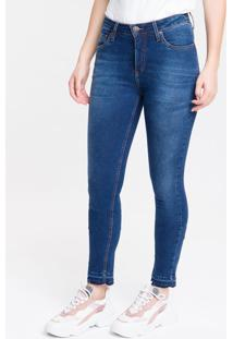 Calça Jeans Feminina Five Pockets Slim Cintura Média Azul Marinho Calvin Klein - 34