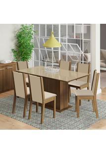 Conjunto De Mesa Com 6 Cadeiras De Jantar Anis Linho Rústico Pérola