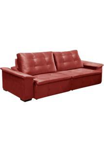 Sofá 4 Lugares Retrátil E Reclinável Veyron Veludo Vermelho
