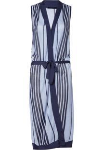 Colete Rosa Chá Elisa Sideral Beachwear Listrado Feminino (Listrado, P)