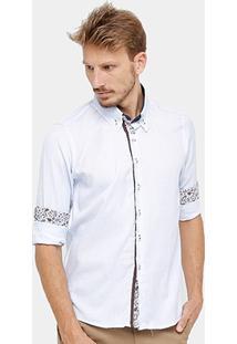 Camisa Blue Bay Maquinetada Paisley Masculina - Masculino