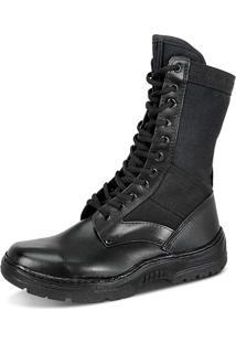 Coturno Militar Masculino Sobotas Couro E Lona Ccl Indicado Para Forças Armadas