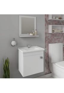 Gabinete Para Banheiro Com Cuba E Espelheira 1 Porta 1 Prateleira Íris Mgm Móveis Branco