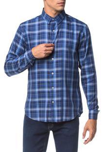 Camisa Slim Ml Sport Xadrez - Azul Médio - 2