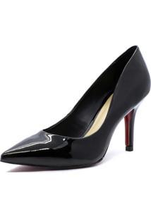 Scarpin Shoes Inbox Clássico Com Sola Vermelha Em Verniz Preto