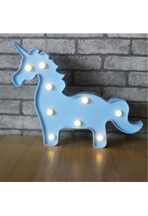 Luminaria Led Abajur Luz Decoracão Modelo Cavalo Azul