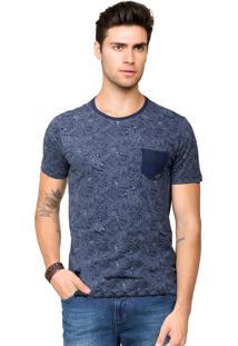 Camiseta Tony Menswear Estampada Com Bolso Azul-Marinho
