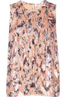 Dvf Diane Von Furstenberg Blusa Estampada Com Franzido Frontal - Laranja