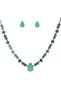 Conjunto Infine Choker E Brincos Gota Turmalina Fusion Premium E Cristal Verde - Tricae