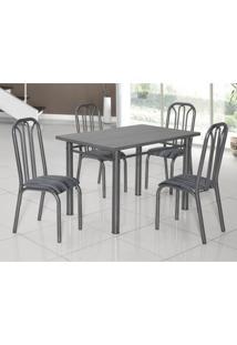 Conjunto De Mesa Com 4 Cadeiras Lion Clássica Ciplafe Craqueado Preto/Riscado Preto