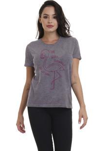Camiseta Jay Jay Básica Flamingo Caveira Chumbo Dtg