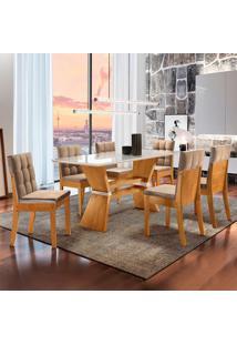 Conjunto De Mesa De Jantar Oxford Com 6 Cadeiras Vermont Ll Suede Off White E Bege