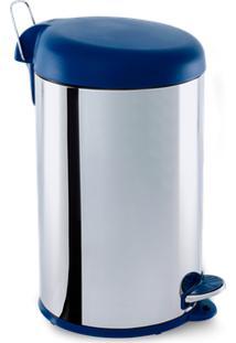 Lixeira Inox 12L Com Pedal Tampa Azul Brinox