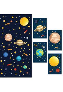 Adesivo De Parede Quartinhos Espaã§O Sistema Solar E Placas Decorativas - Azul - Dafiti