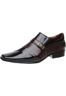 Sapato Social Malbork Em Couro Verniz Dark Red 0751 Vermelho/Preto
