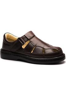 Sandália Masculina 320 Em Couro Floater Doctor Shoes - Masculino-Café