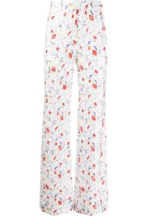 Missoni Calça Cintura Alta Com Estampa Floral - Branco