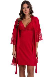Camisola Amamentação Estilo Sedutor Com Robe Em Microfibra E Renda Vermelha - Dr202-301 - Kanui