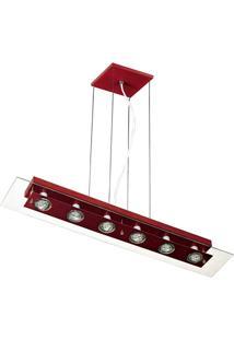 Pendente Retangular Para 6 Lâmpadas Transparente E Vermelho