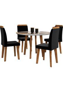 Conjunto Mesa De Jantar Turmalina Branco 1,08X1,08 C/ 4 Cadeiras Rv Móveis