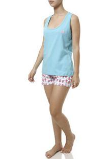 Pijama Curto Feminino Branco/Azul