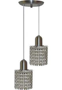 Luminaria Pendente De Cristal Redondo - Duplo - Aluminio Escovado