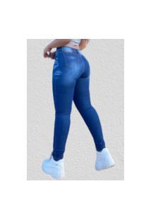 Calça Jeans Skinny Premium Fec Fashion Cintura Alta Com Elastano Azul
