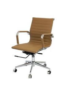 Cadeira Eames Baixa Caramelo Base Cromada - 25387 Caramelo