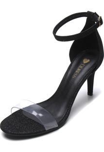 Sandália D.Dress Glitter Preta