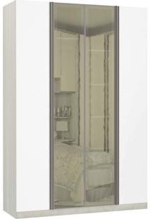 Guarda Roupa Modulado Espelhos Reflecta 4 Portas Emolduradas 3 Gavetas Nichos Colmeia 159Cm Prime Luciane Móveis Legno Crema/Branco Mat
