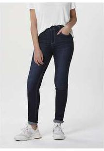 Calça Feminina Jeans Skinny Cintura Alta Soft Touch Azul-Escuro