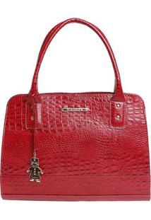 Bolsa Em Couro Croco Com Bag Charm- Vermelha- 25X36Xdi Marlys