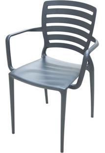 Cadeira Com Braco Sofia Encosto Vazado Horizontal Cor Grafite - 26153 - Sun House