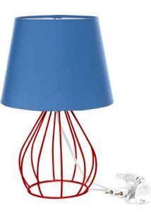 Abajur Cebola Dome Azul Com Aramado Vermelho - Azul - Dafiti