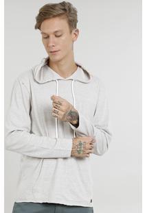 Camiseta Masculina Com Bolso E Capuz Manga Longa Kaki Claro