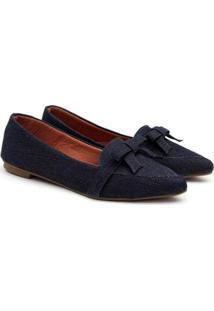 Sapatilha Delmont Store Jeans Bico Fino Laço Feminina - Feminino-Azul