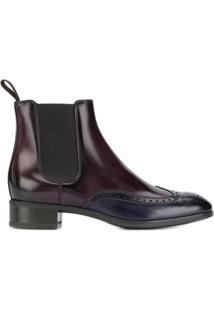 Santoni Ankle Boot Com Bico Contrastante - Vermelho