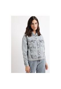 Jaqueta Jeans Feminina Mindset Ampla Com Bolsos Azul Claro