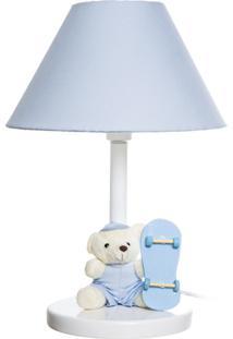Abajur Madeira Urso Skate Quarto Bebê Infantil Menino Potinho De Mel Azul