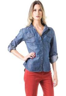 Camisa Bloom Jeans Ajustada Feminina - Feminino
