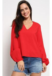 Blusa Lisa Com Elã¡Stico - Vermelha - Colccicolcci