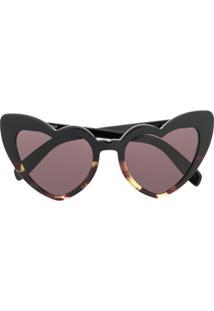 Saint Laurent Eyewear Heart Frame Sunglasses - Preto